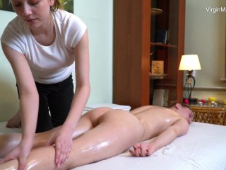 Small tits and hot ass Cili massaged by lesbian girl