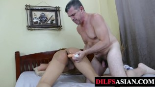 Porn Gay XXX  Asian twink barebacked after toyed by DILF