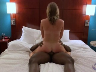 Hotwife riding her black cock bull to multiple orgasms while teasing cuck