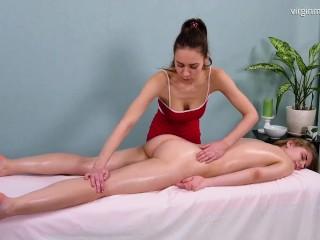 First time pussy masturbation on massage for Irka