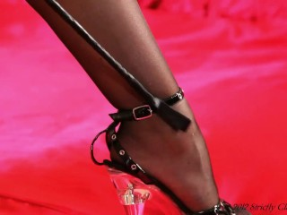Mistress Bryoni-Kate Shows Her Diverse Talents By Tickling Her Feet and Stilettos With Her Whip A Foot Loving Feast
