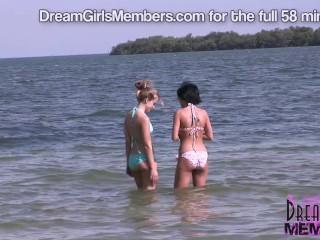 Bikini Freaks Pose Topless in Hot Cars At The Beach