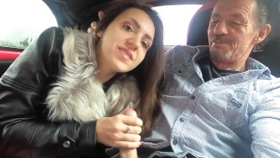 Close Up Car Blowjob Queen Mona Sucks Candy Man's Big Hard Cock In Her Car