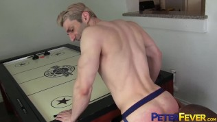 Interracial anal with muscular gay men