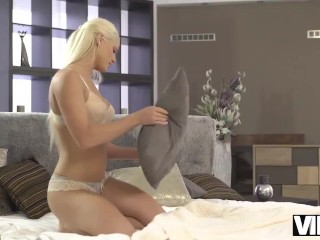 VIP4K. Blonde masturbates but the black spouse replaces the toy with cock