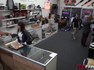 XXXPAWN - Busty Amateur Desperate For Cash Fucks Store Owner In Backroom