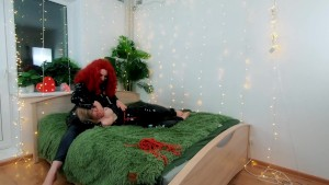 Backstage video of lesbian fetish fun. PVC clothes, light femdom, tickling with hitachi magic wand