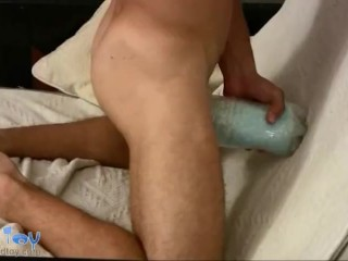 Sexy gay boy filmed close-up while testing his new toy