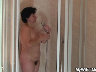 Fucked the old woman out of the shower