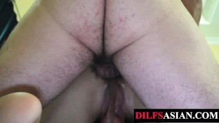 Porn Gay XXX  Unsaddled daddy fucks Asian twink after tickling