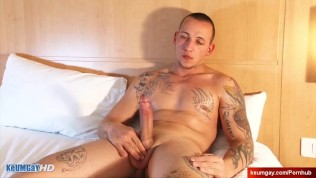 str8 's monster cock gets wanked by us in spite of himself !