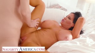 Naughty America - Sybil Stallone notices her son's friend spying on her while she pleases herself
