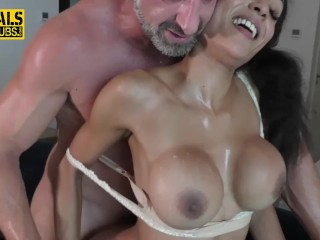 Black thottie submissive with huge jugs hard throats together with bounces on wood