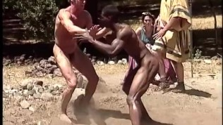Muscular Athletes Wrestle Naked in Ancient Greek Games