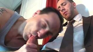 Huge gard dick exposed in a gay porn.