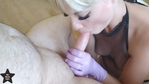Honey Blowjob with purple latex gloves made him cum 3 times