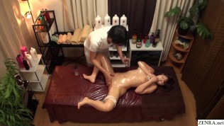 Erotic Japanese Massage For Top Heavy Beautiful Teen Including Fingering and Blowjob