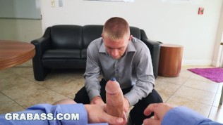 GRABASS – Adam Bryant Constantly Trying To Trick Worker Into Playing With His Dick. This Time He Succeeds!